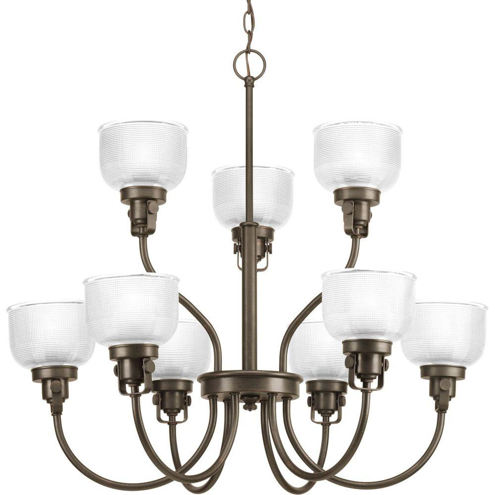 Progress Lighting Archie Collection 9-Light Venetian Bronze Chandelier with Shade with Clear Prismatic Glass Shade