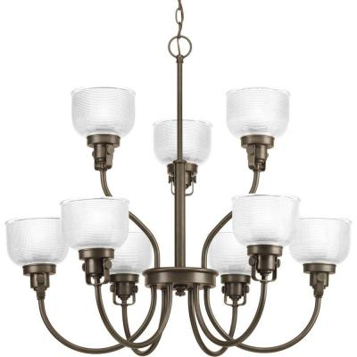 Archie Collection 9-Light Venetian Bronze Chandelier with Clear Prismatic Glass Shade