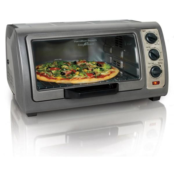 Easy Reach 1400 W 6-Slice Gray Convection Toaster Oven with Built-In Timer