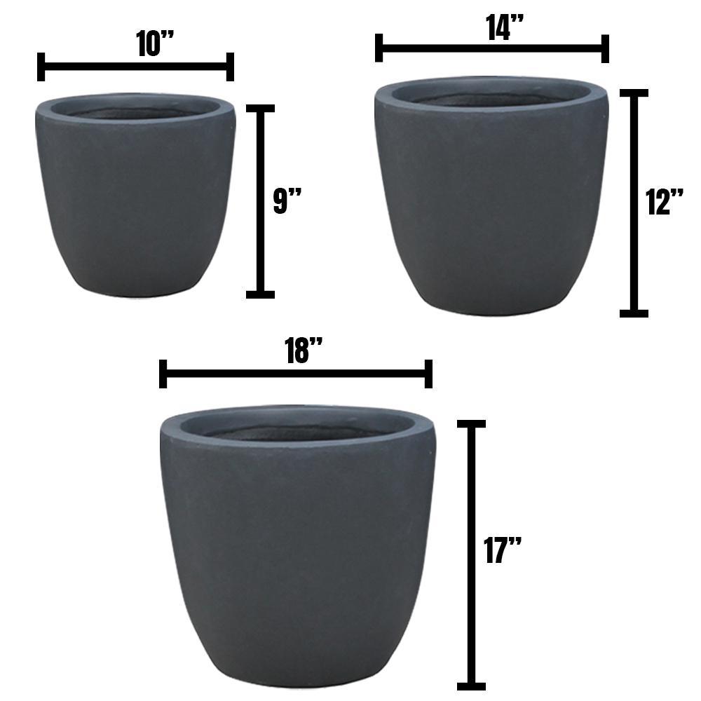 DurX-litecrete Lightweight Concrete Modern Seamless Round Grey Planter (Set of 3)