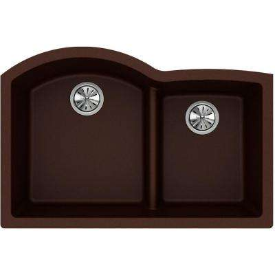Quartz Classic Undermount Composite 33 in. Rounded Offset Double Bowl Kitchen Sink in Pecan