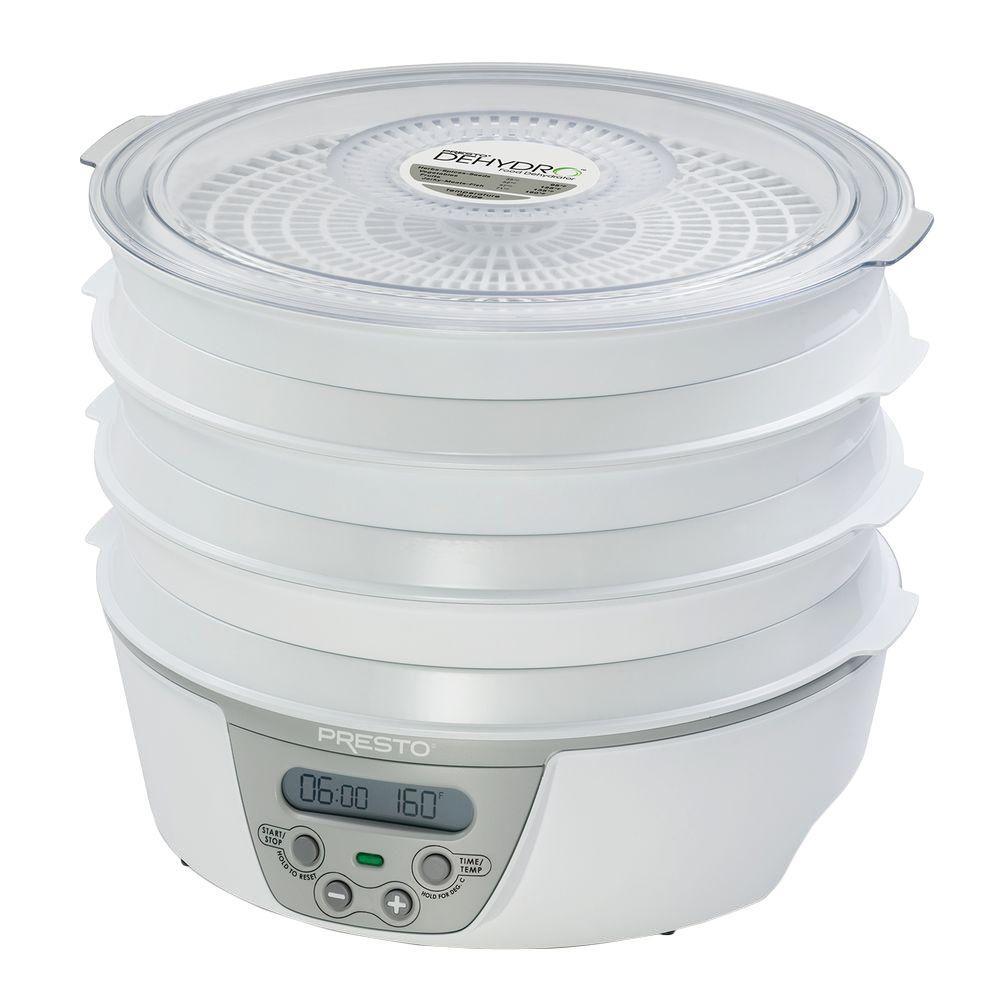 Click here to buy Presto Dehydro Adjustable Thermostat Food Dehydrator by Presto.