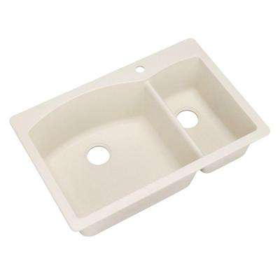 Diamond Dual Mount Granite Composite 33 in. 1-Hole 1-1/2 Double Basin Kitchen Sink in Biscuit