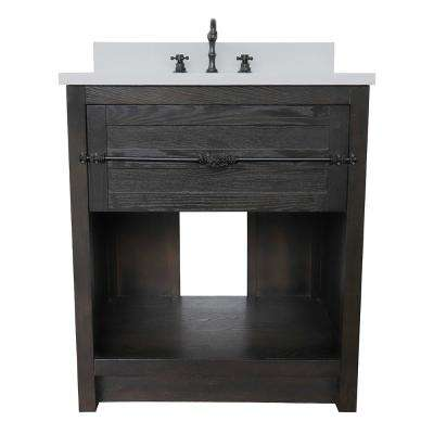 Plantation II 31 in. W x 22 in. D Bath Vanity in Brown with Quartz Vanity Top in White with White Rectangle Basin