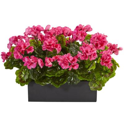 Indoor/Outdoor UV Resistant Pink Geranium Silk Plant in Rectangular Planter