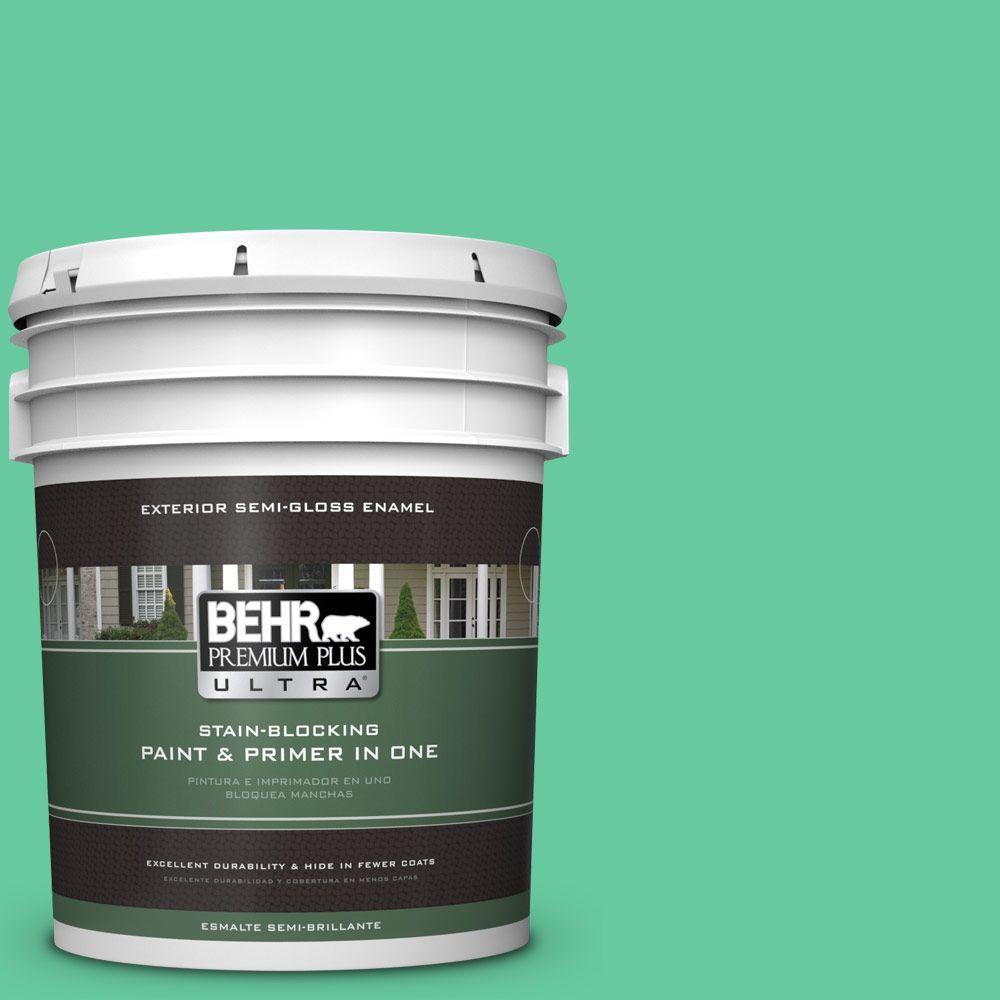 BEHR Premium Plus Ultra 5-gal. #470B-4 Intense Jade Semi-Gloss Enamel Exterior Paint