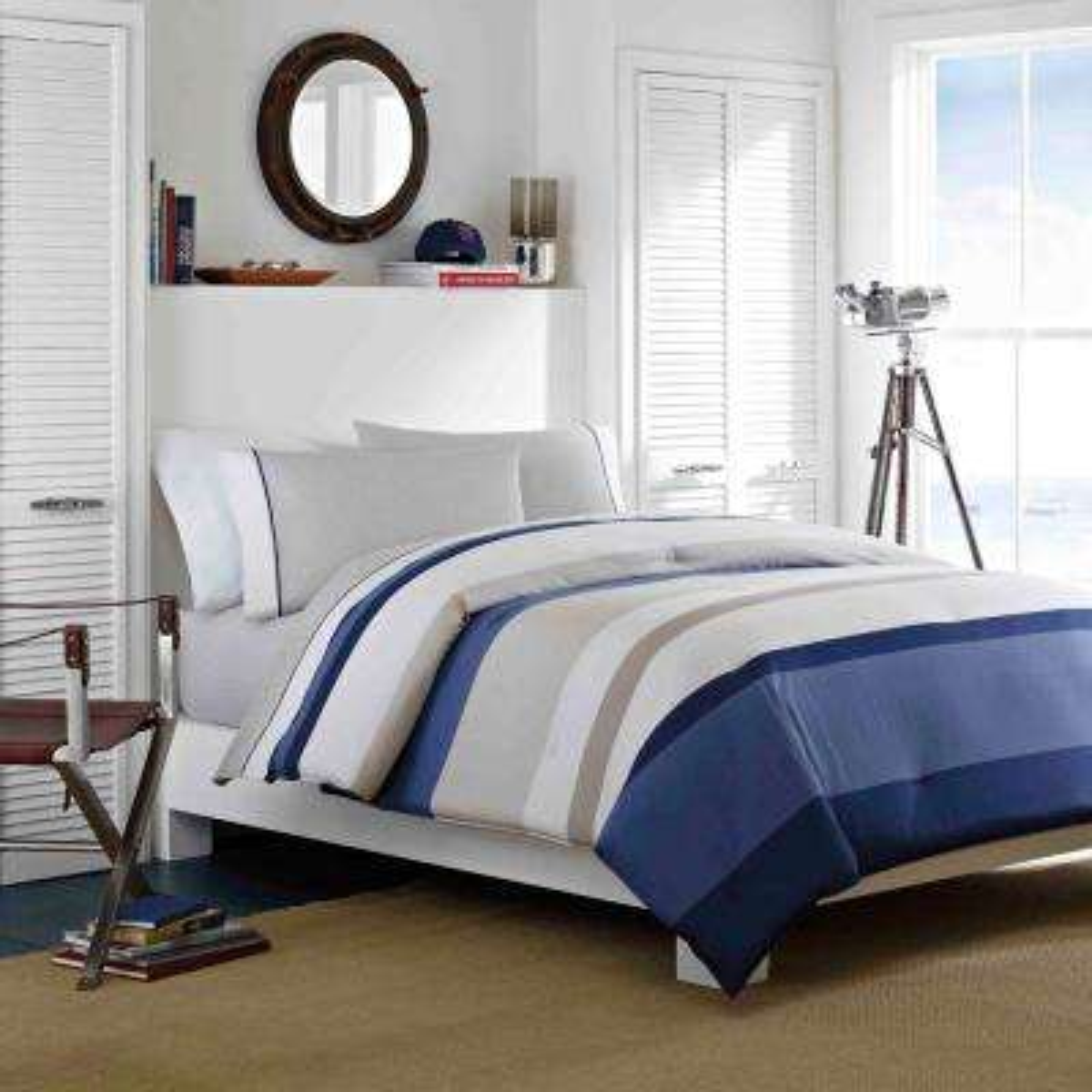 Grand Bank 2-Piece Beige Cotton Twin Comforter Set