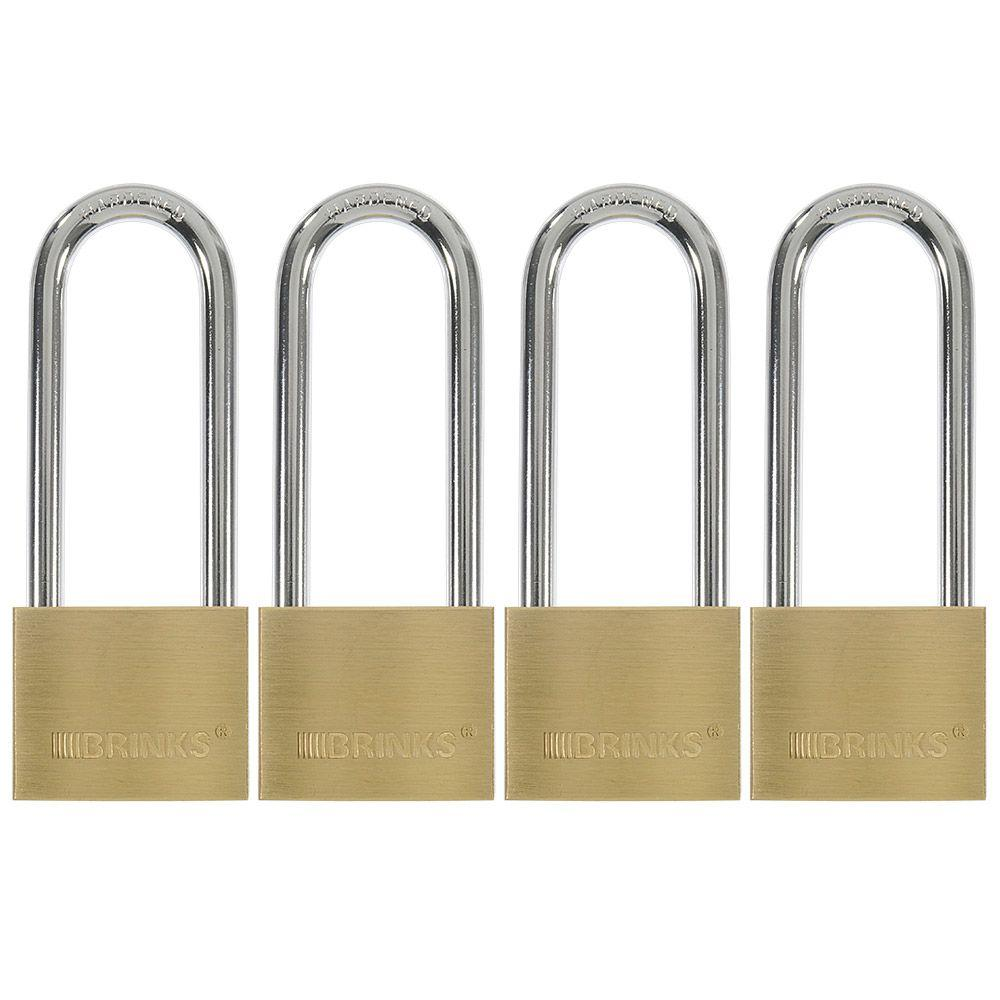 Brinks 1-9/16 in. (40 mm) Solid Brass Keyed Lock with 2 in. Shackle (4-Pack)
