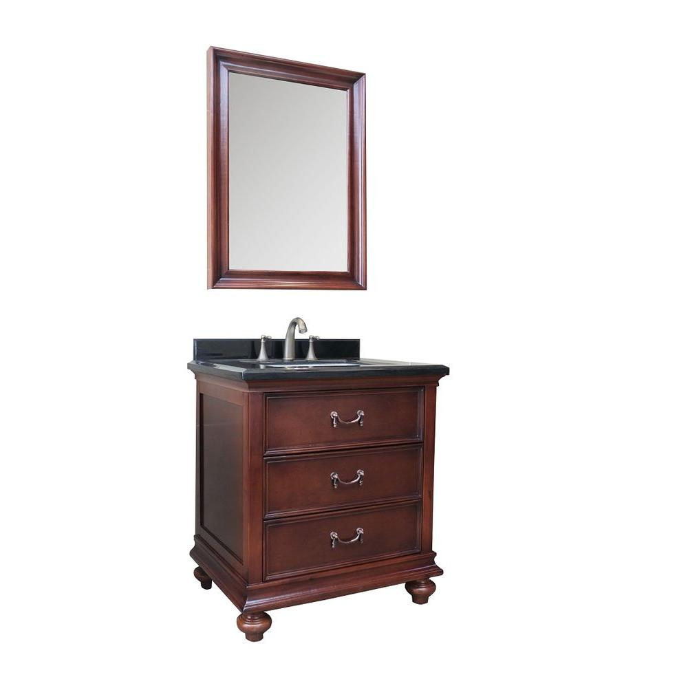 30 in.W Bath Vanity in Dark Brown with Marble Vanity Top