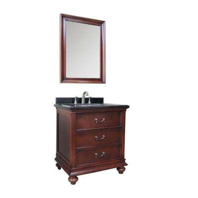 30 in.W  Bath Vanity in Dark Brown with Marble Vanity Top in Black with White Basin and Mirror