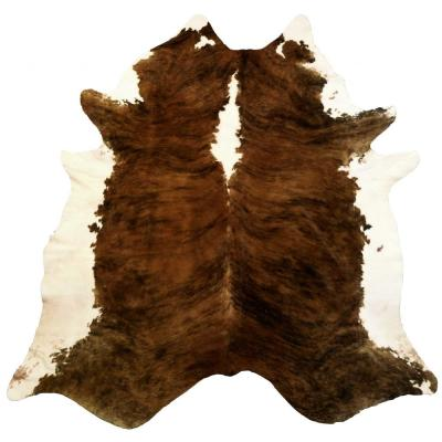 Dahlia White/Brown 6 ft. x 7 ft. Abstract Cowhide Area Rug