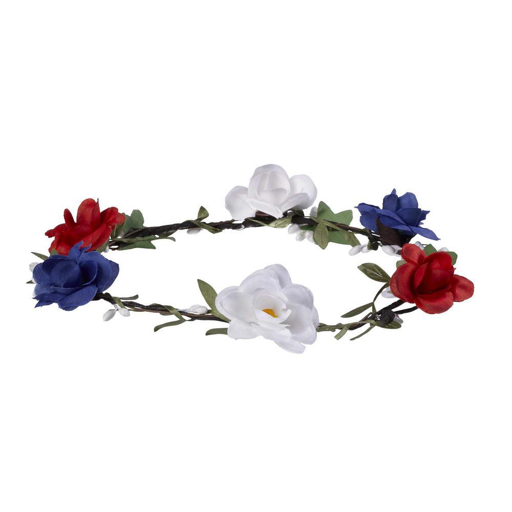 AMSCAN 7 in. x 1.5 in. Patriotic Floral Head Wreath (2-Pack)