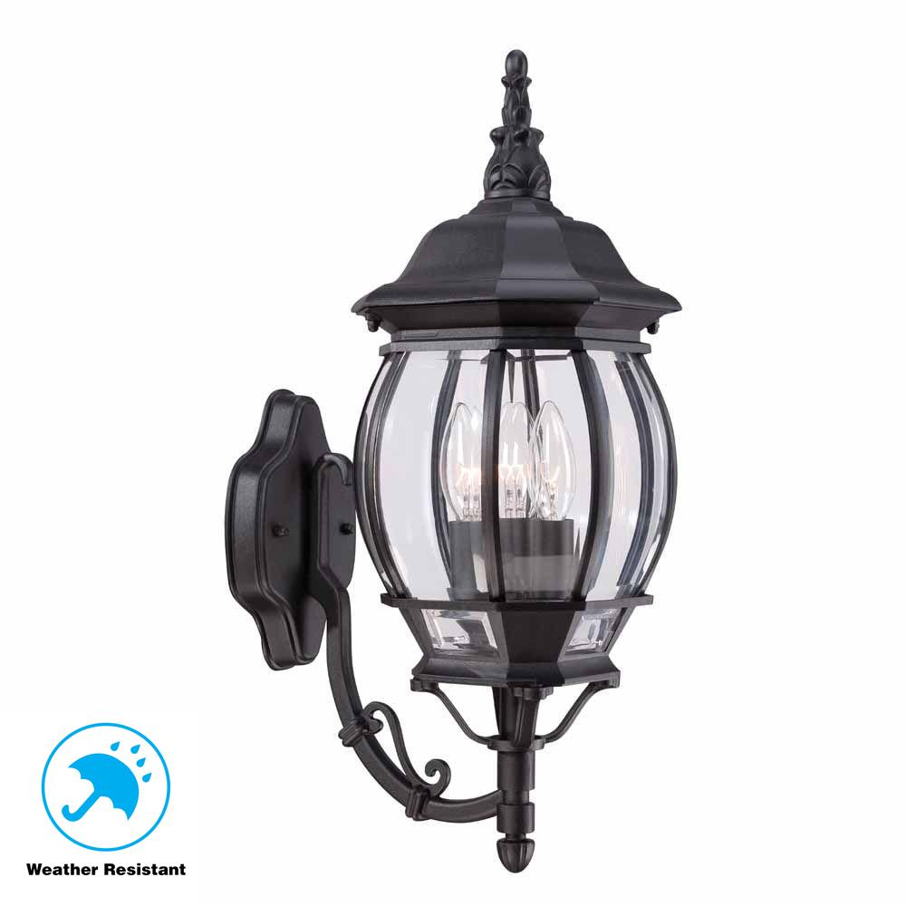 3-Light Black Outdoor Wall Mount Lantern