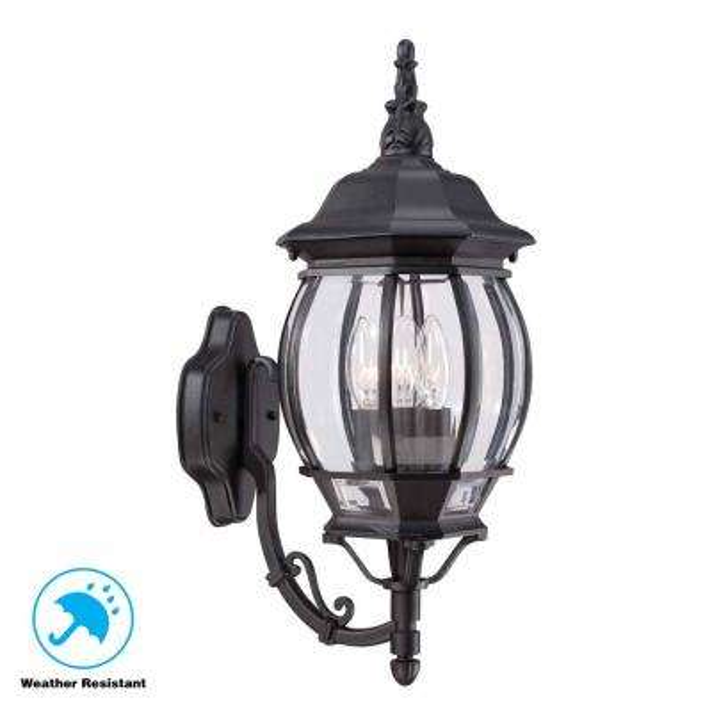 3-Light Black Outdoor Wall Mount Lantern