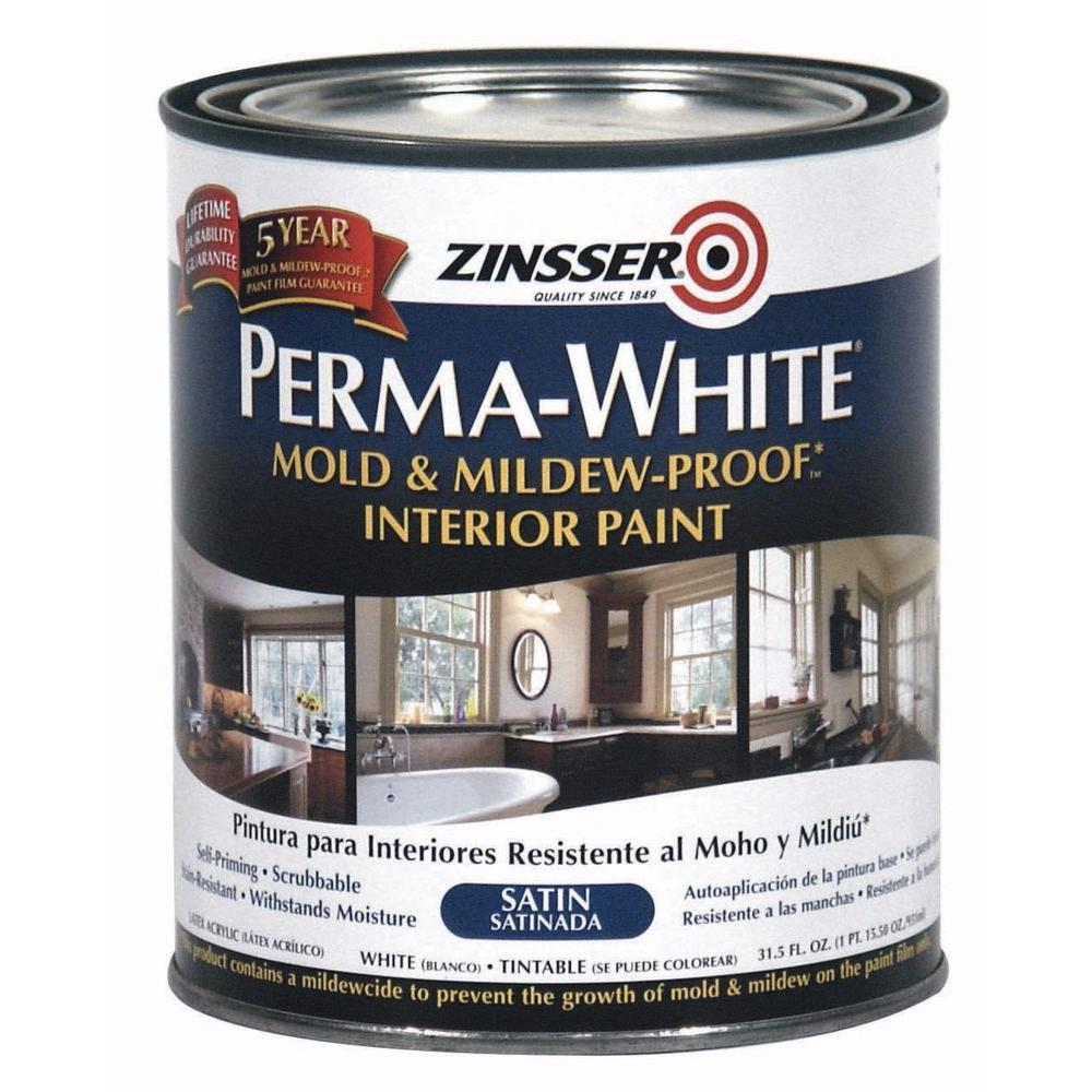 Mold & Mildew-Proof Satin Interior Paint (2-Pack)-02711 - The Home Depot