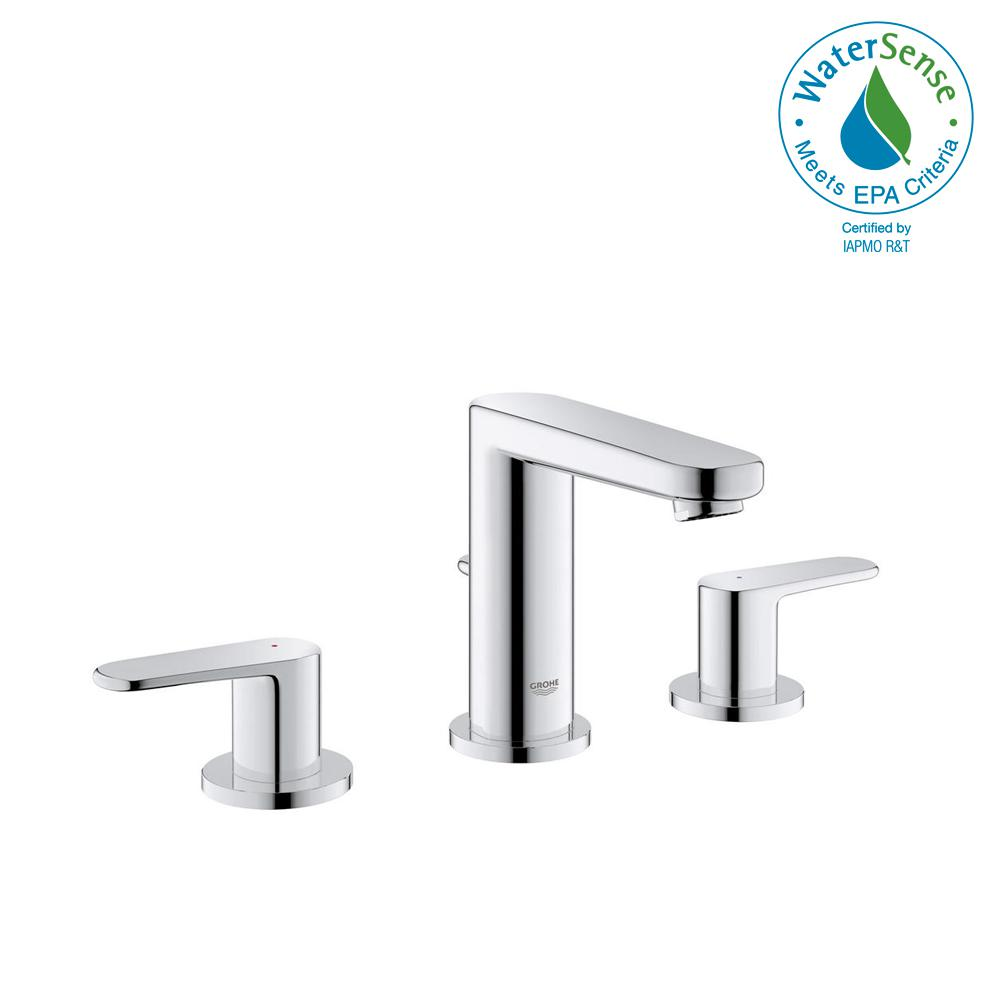 GROHE Europlus 8 in. Widespread 2-Handle Low-Arc 1.2 GPM Bathroom ...