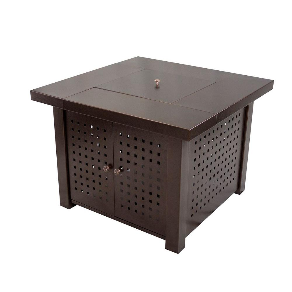 Perforated Square Steel Gas Fire Pit Table In Hammered Bronze
