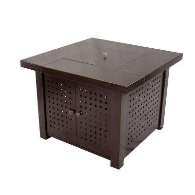 Eden 38 in. Perforated Square Steel Gas Fire Pit Table in Hammered Bronze