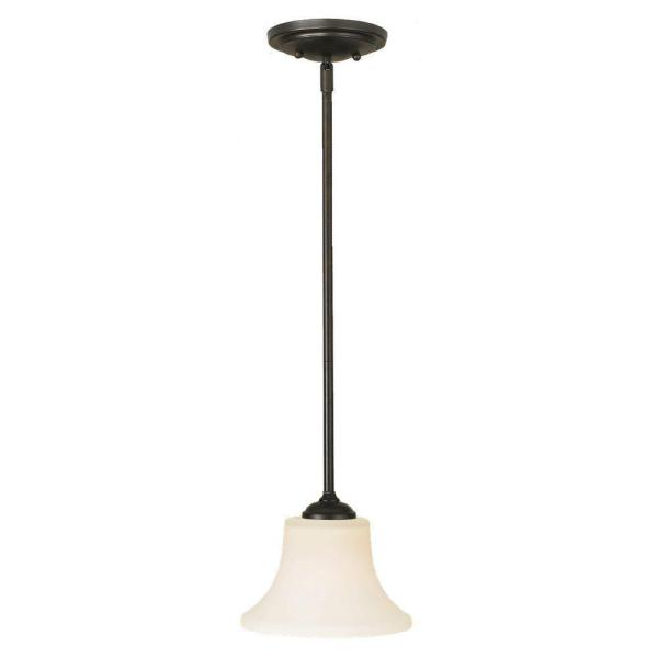 Barrington 1-Light Oil Rubbed Bronze Transitional Mini Pendant with White Opal Etched Glass Shade