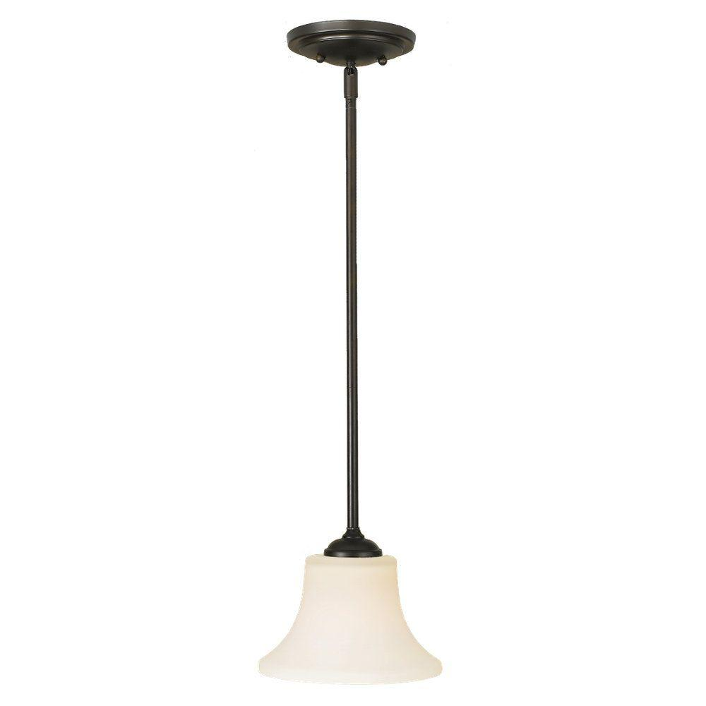 Sea Gull Lighting Barrington 8 in. W. 1-Light Oil Rubbed Bronze Mini Pendant with Opal Etched Glass Shade