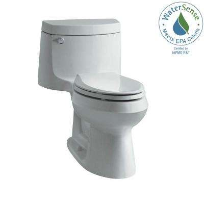 Cimarron 1-piece 1.28 GPF Single Flush Elongated Toilet with AquaPiston Flush Technology in Ice Grey