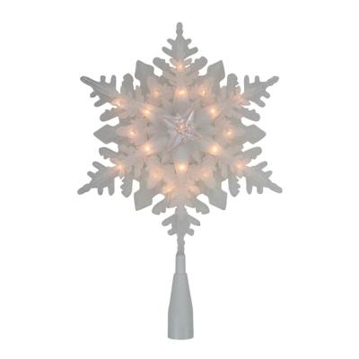 10 in. Lighted White Snowflake Christmas Tree Topper with Clear Lights