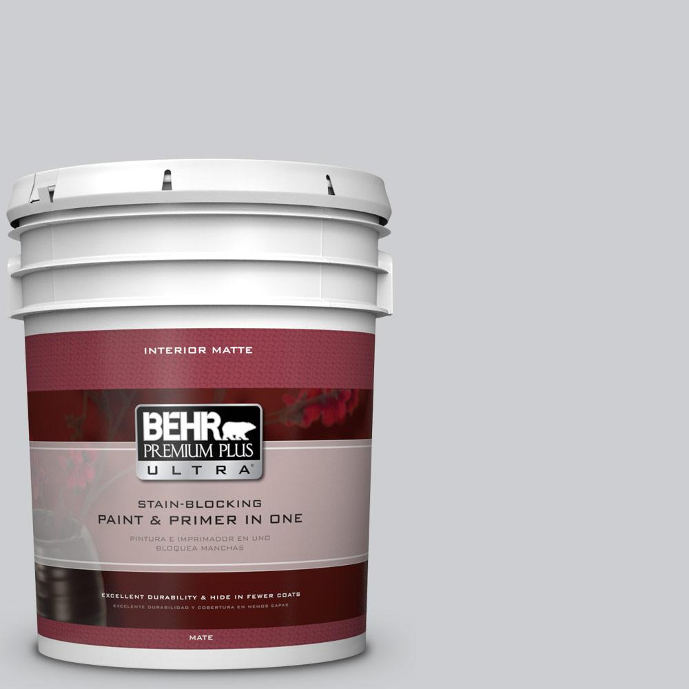 5 gal. #770E-2 Silver Screen Flat/Matte Interior Paint and Primer in