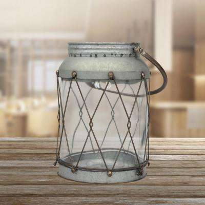 7.5 in. x 9.75 in. Large Metal Lantern with Handle and Glass Insert