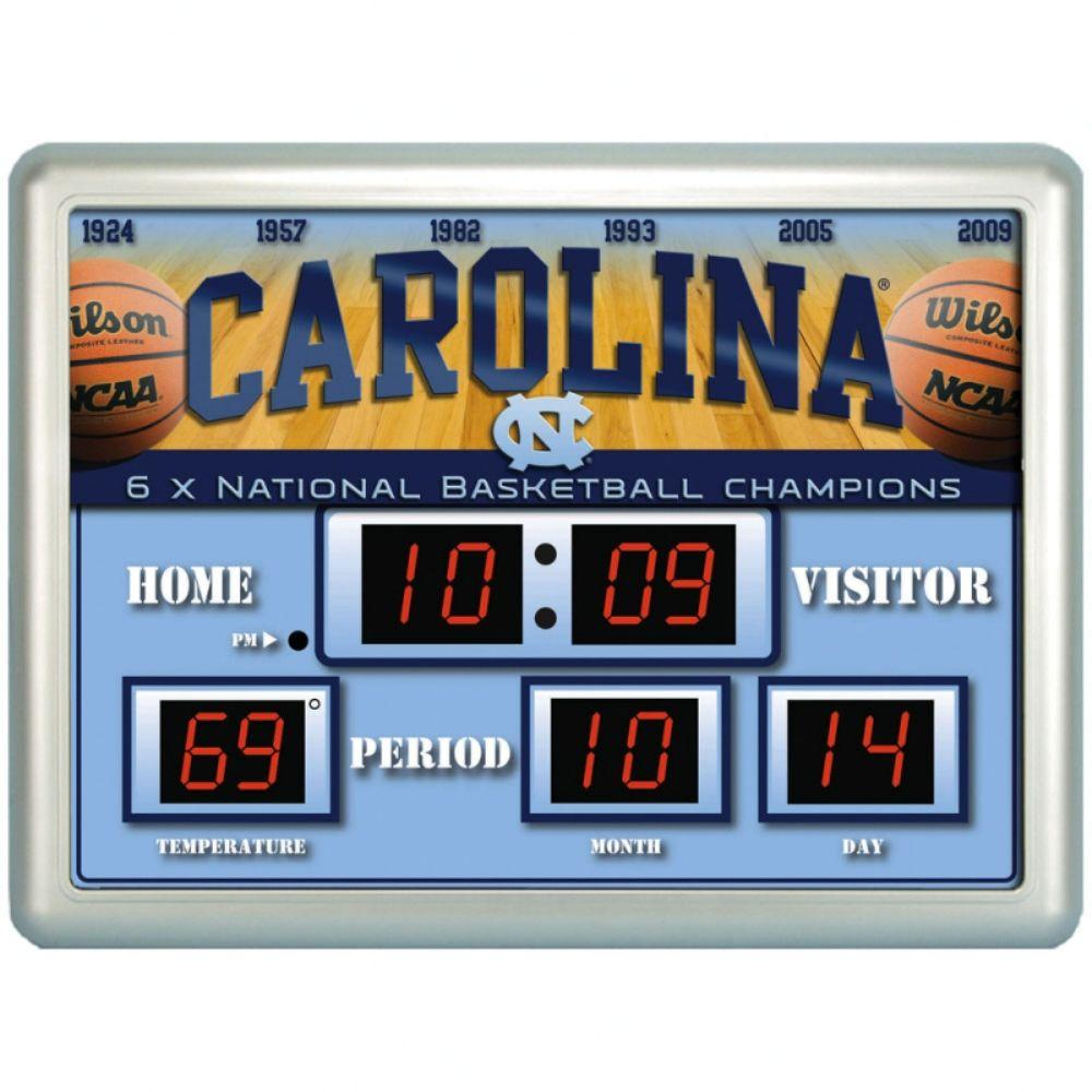 null University of North Carolina 14 in. x 19 in. Scoreboard Clock with Temperature