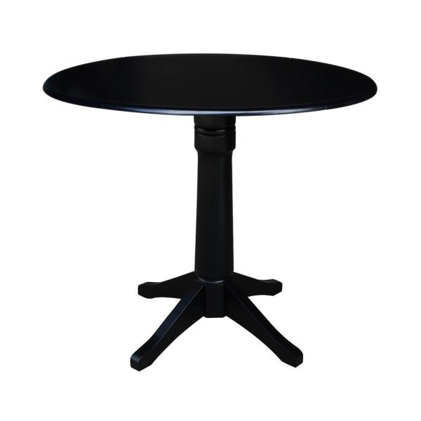 International Concepts Olivia Black Solid Wood 42 in. Drop-leaf Counter-height Table