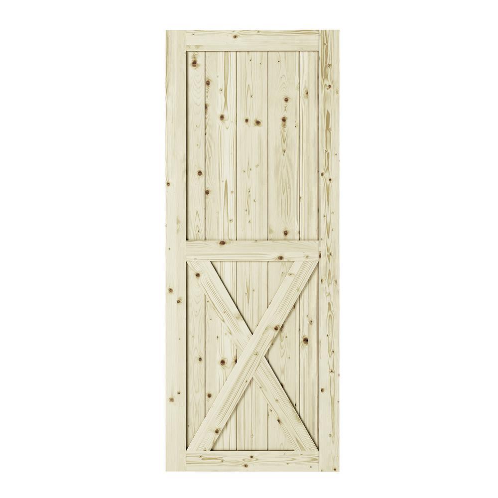 33 in. x 84 in. Half-Cross X-Brace Unfinished Knotty Pine Interior Barn Door Slab