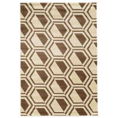 Roma Collection Comb Ivory and Beige 8 ft. x 10 ft. Indoor Area Rug
