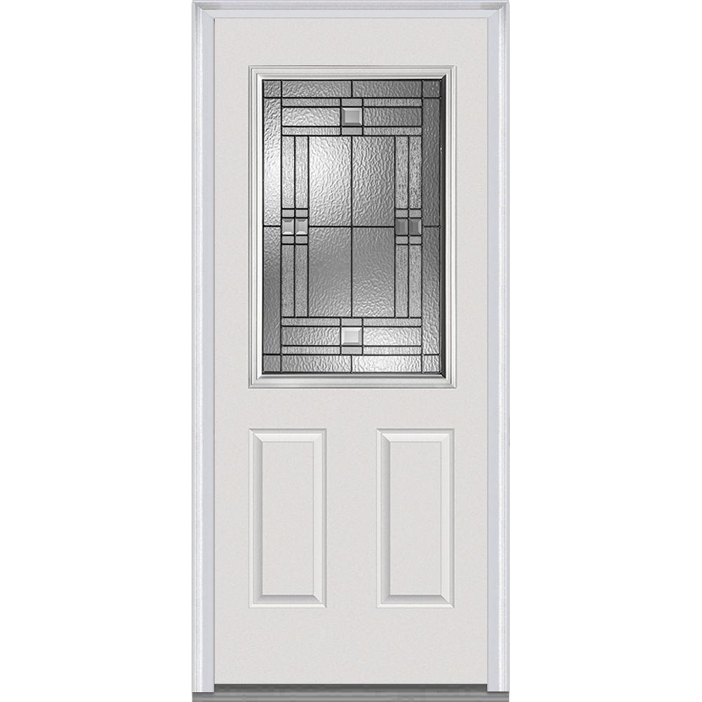 32 in. x 80 in. Roman Left-Hand Inswing 1/2-Lite Decorative 2-Panel Primed Steel Prehung Front Door