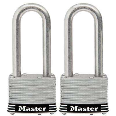 2 in. Laminated Stainless Steel Keyed Padlock with 2-1/2 in. Shackle (2-Pack)