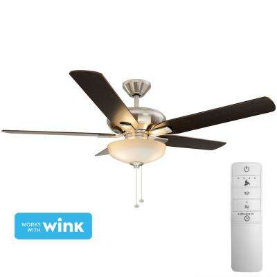 Holly Springs 52 in. LED Indoor Brushed Nickel Smart Ceiling Fan with Light Kit and WINK Remote Control
