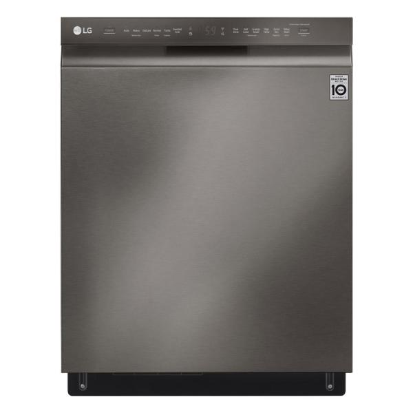 24 in. Front Control Built-In Smart Dishwasher in Black Stainless Steel w/ QuadWash, 3rd Rack, SmartThinQ, 46 dBA