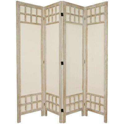 6 ft. Burnt White Muslin Window Pane 4-Panel Room Divider
