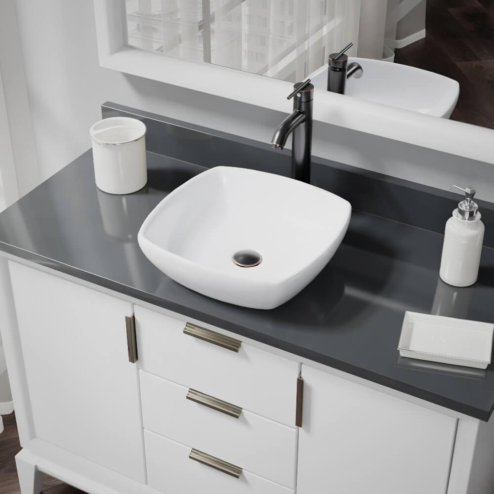 Rene Porcelain Vessel Sink in White with 7001 Faucet and Pop-Up Drain in Antique Bronze