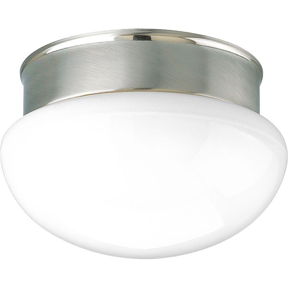 1-Light Brushed Nickel Flushmount with White Glass