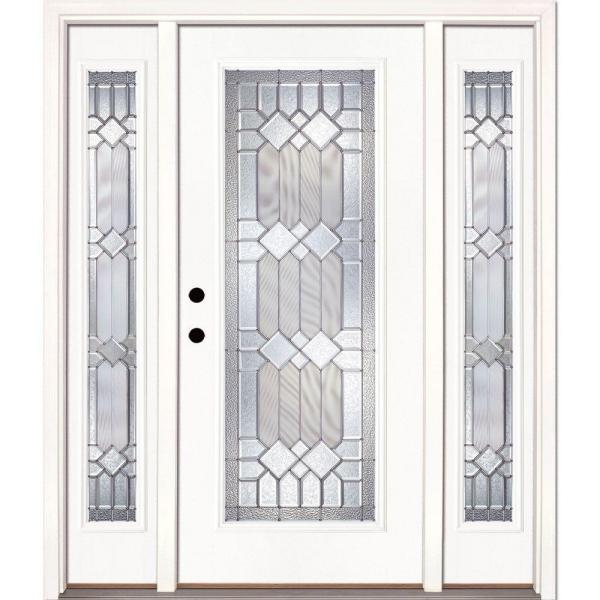 63.5 in.x81.625in.Mission Pointe Zinc Full Lt Prime Smooth Unfinished Rt-Hd Fiberglass Prehung Front Door w/ Sidelites