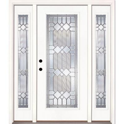 67.5 in.x81.625in.Mission Pointe Zinc Full Lt Prime Smooth Unfinished Rt-Hd Fiberglass Prehung Front Door w/ Sidelites