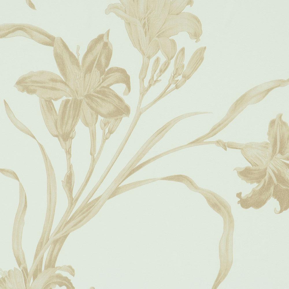 Warm Grey Metallic Floral Wallpaper