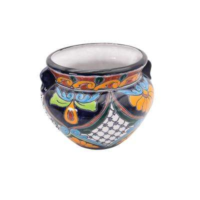 12 in. Multi-Colored Talavera Chata Ceramic Planter