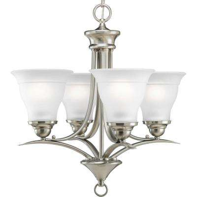 Trinity 4-Light Brushed Nickel Chandelier with Etched Glass