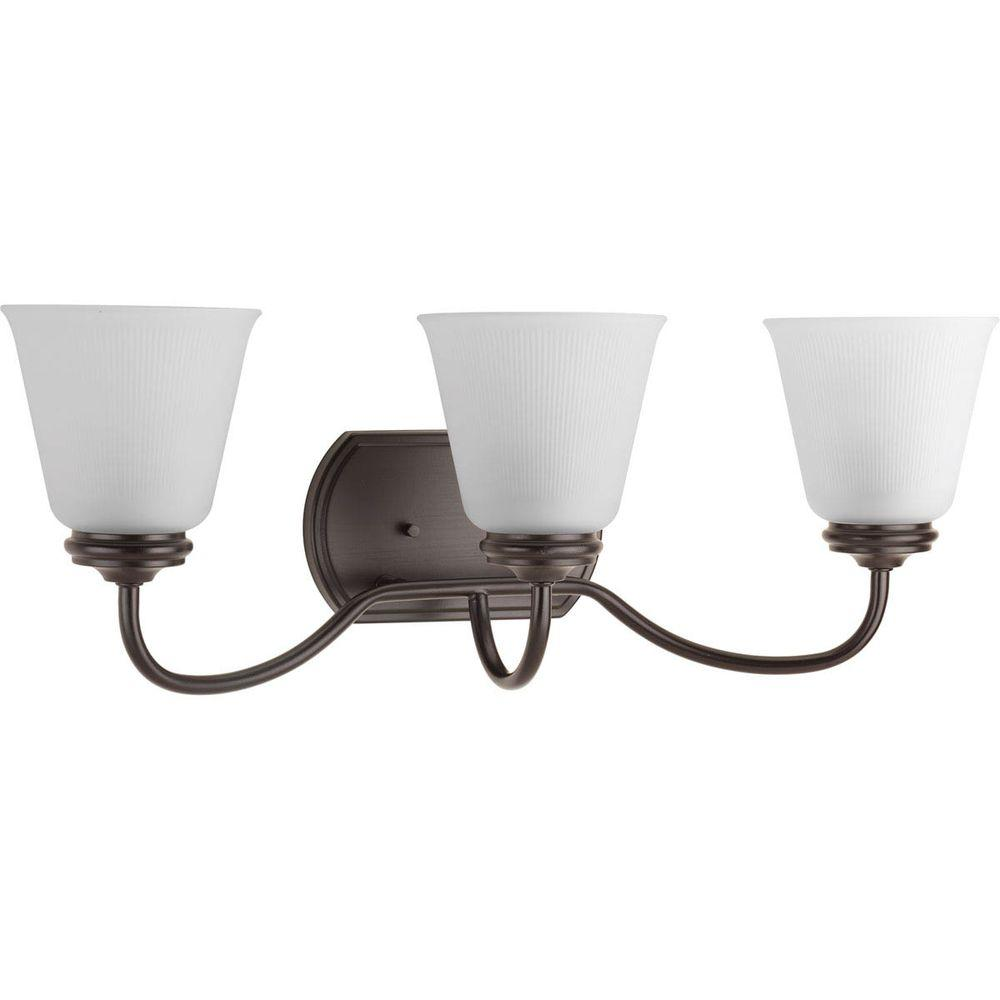 Progress Lighting Keats Collection 3 Light Antique Bronze Vanity Light With Frosted Ribbed Glass