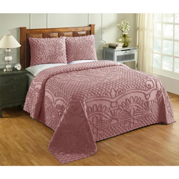 Trevor Collection in Geometric Design Pink King 100% Cotton Tufted Chenille Bedspread Set