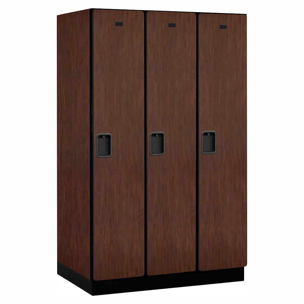 Salsbury Industries 21000 Series Single Tier 24 in. D 3 Compartments Extra Wide Designer Wood Locker in Mahogany