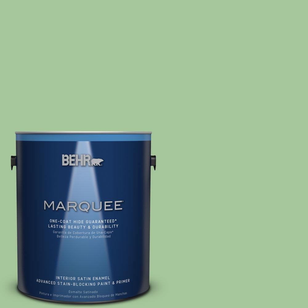 1 gal. #M390-4 Gingko One-Coat Hide Satin Enamel Interior Paint