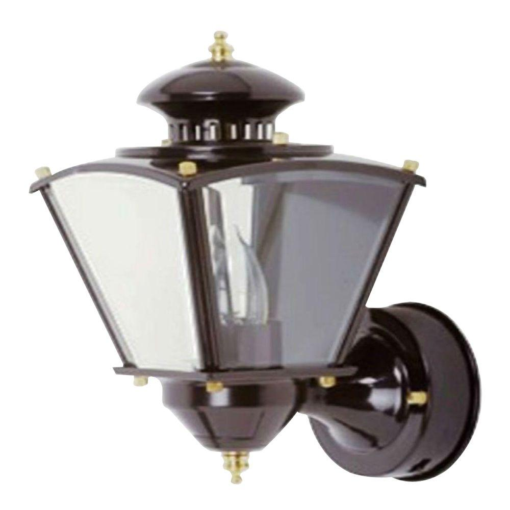 16 in.Beveled Glass Coach 1-Light Black Motion Activated Outdoor Dusk to