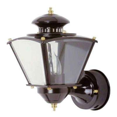 16 in.Beveled Glass Coach 1-Light Black Motion Activated Outdoor Dusk to Dawn Wall Mount Lantern